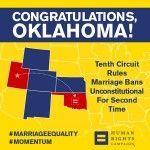 Nuevo hito judicial en Estados Unidos: la Corte de Apelaciones ratifica que es inconstitucional prohibir el matrimonio igualitario en Oklahoma