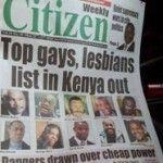 Un periódico de Kenia pone en riesgo la vida de varias personas LGTB publicando sus fotos y nombre en portada
