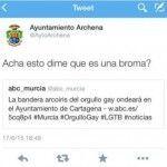 El Ayuntamiento de Archena (PP) pide disculpas tras la publicación de un tuit homófobo en su cuenta oficial