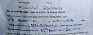 Documento de detencion homofoba en Malawi
