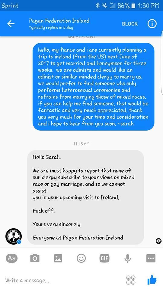 Federación Pagana de Irlanda - solicitud LGTBfoba