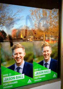Jason Ball, Australia, cartel con insulto homofobo