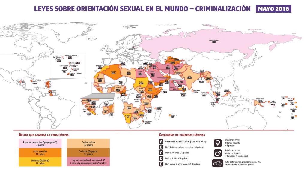 Mapa de la criminalización de la homosexualidad en todo el mundo