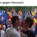 El beso de una pareja gay frente a los neonazis de Madrid da la vuelta al mundo