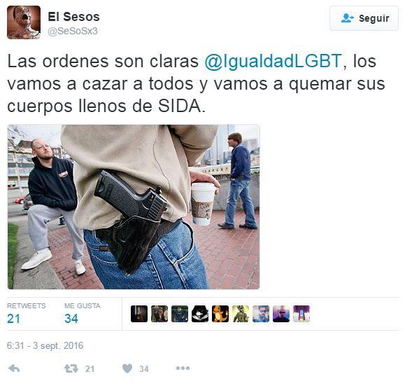 captura mensaje homofobo Twitter