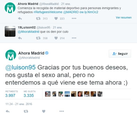respuesta Ahora Madrid sexo anal